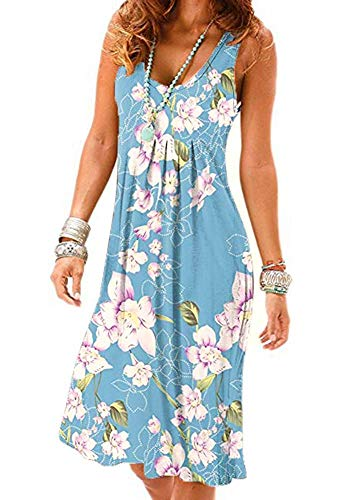 (Akihoo Women's Casual Cold Shoulder Floral Print Short Sleeve Midi Swing Pleated Dress YH-Light Blue L)