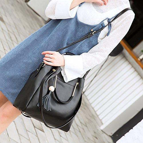 E-Girl LF-M168 Sac à main fashion en cuir femme Sac portés main Sac portés épaule Sac bandoulière Noir