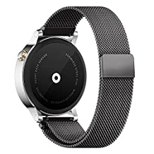 18MM 20MM 22MM Watch Bands Pinhen Milanese Loop Magnet Mesh Stainless Steel Watch Band For LG Samsung Gear S3 Frontier Classic Moto 360 Pebble Time Smart Watch (22MM Black)