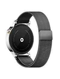 18MM 20MM 22MM Watch Bands Pinhen Milanese Loop Magnet Mesh Stainless Steel Watch Band For LG Samsung Gear S2 Moto 360 Smart Watch (20MM Black)