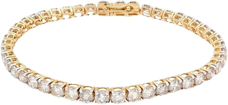 Pulsera de oro amarillo de 18 quilates con diamantes de 7,25 (9 quilates), línea de tenis, 3,5 mm de ancho.