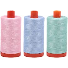 Aurifil Cotton Mako 50wt 1300m Baby Pink + Light Robins Egg + Mint