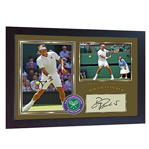 (New Roger Federer signed autograph 2018 Championships Wimbledon photo print Framed)