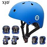 XJD Child Protective Gear Set, Adjustable Kids bike Helmet Knee Elbow Pads Wrist(Blue)