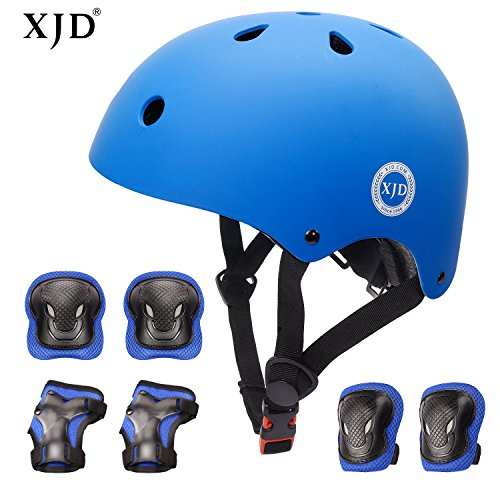 XJD Kids Helmet 3-8 Years Toddler Helmet Sports Protective Gear Set Knee Elbow Wrist Pads Roller Bicycle BMX Bike Skateboard Adjustable Helmets for Kids (Blue)