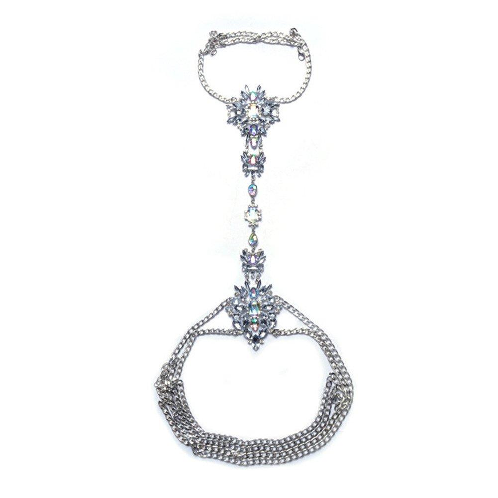 SIYWINA Body Chains Women Novelty Jewelry Necklace Body Jewelry with Rhinestone(Silver)