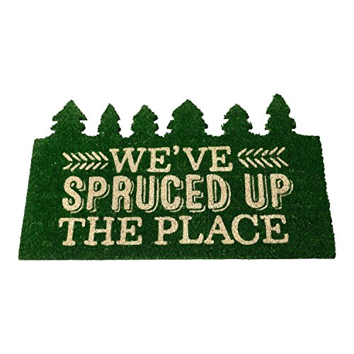 Hallmark Home Natural Coir Doormat, Holiday Green Cut Out Trees