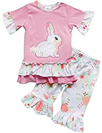 Toddler Girls 2 Pc Easter Bunny Pastels Top and Pants Holiday Outfit