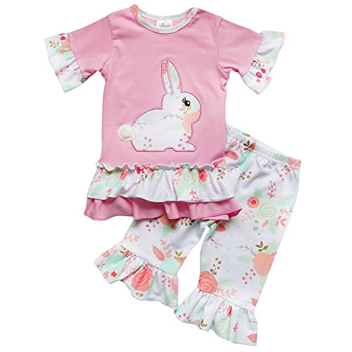So Sydney Toddler Girls 2 Pc Easter Bunny Pastels Top and Pants Holiday Outfit (XL (6), Cotton Tail Bunny (Toddler Holiday Dresses)