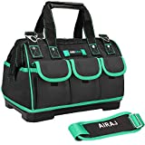 AIRAJ 18-in Tool Tote Bag with Strap,Suitable for Electrician, Woodworking Waterproof, Large Capacity, Plastic Bottom Electrician Bags (18inch)
