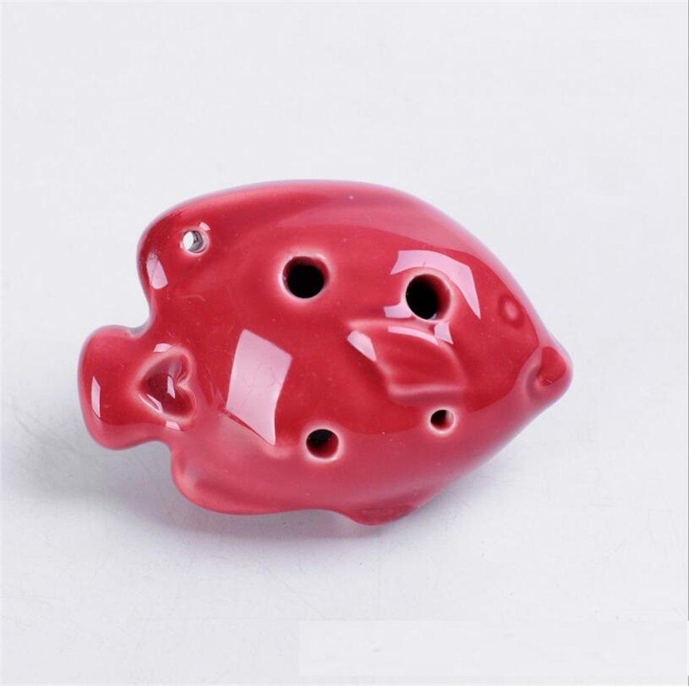 EoamIk Instruments de bébé Petit Poisson 6 Trous Ocarina Instruments Artisanat Décorations Bijoux sans lanière (Rouge)
