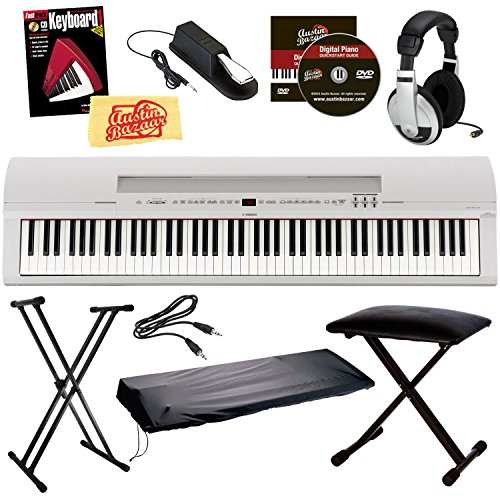Yamaha P-255 Digital Piano Bundle with Gearlux Padded Bench,