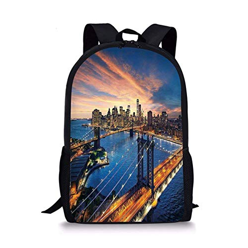 (School Bags Landscape,American City Sunset Over Manhattan and Brooklyn Bridge Cityscape Picture Print,Gold Navy for Boys&Girls Mens Sport)