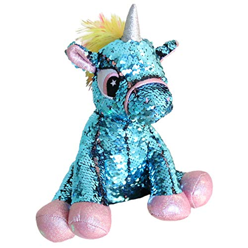Athoinsu Flip Sequin Stuffed Animal Unicorn Plush Toy with Reversible Glitter Sequins Sparkle Gifts for Kids Friends, Blue, 11''