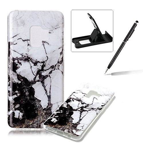Soft Case for Samsung Galaxy S9,Anti Scratch Cover for Samsung Galaxy S9,Herzzer Stylish Pretty Jade White Marble Stone Pattern TPU Bumper Flexible Shock Scratch Resist Rubber Case
