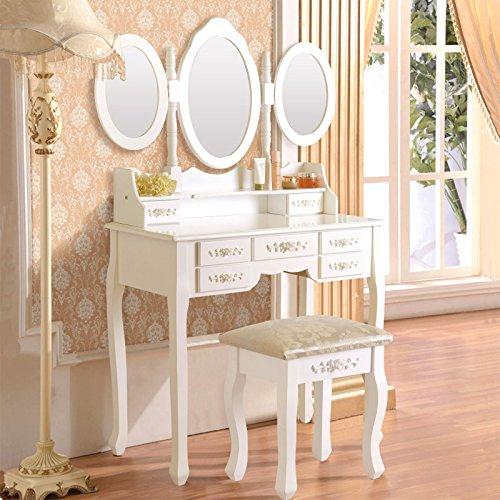 White Vanity Makeup Dressing Table Set w/Stool 7 Drawer&Folding Mirror Wood Desk