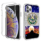 iPhone 11 Pro Max Case, Amook Shockproof Hybrid Hard PC & Soft TPU Bumper Cover Clear with Design Dual Layer Protective Case for Apple iPhone 11 Pro Max 6.5 Inch 2019- El Salvador Flag