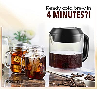 Gourmia GCM6850 New & Improved Automatic Cold Brew Coffee Maker - 4 Minutes Fast Brew - Patented Ice Chill Cycle - One Touch Digital - 4 Strength Selector - 4 Cups - 5W - Black (Black)