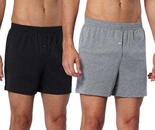 CYZ Mens 2-Pack 100% Cotton Knit Pajama Bottoms - Sleep/Lounge Shorts-BlackGrey-2XL Cotton Sleep Shorts