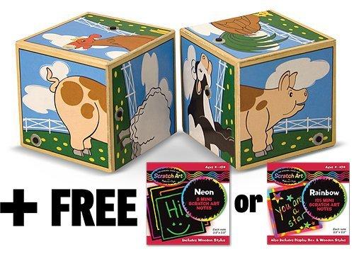 Farm Themed 2-Piece Sound Blocks + FREE Melissa & Doug Scratch Art Mini-Pad Bundle [11969]