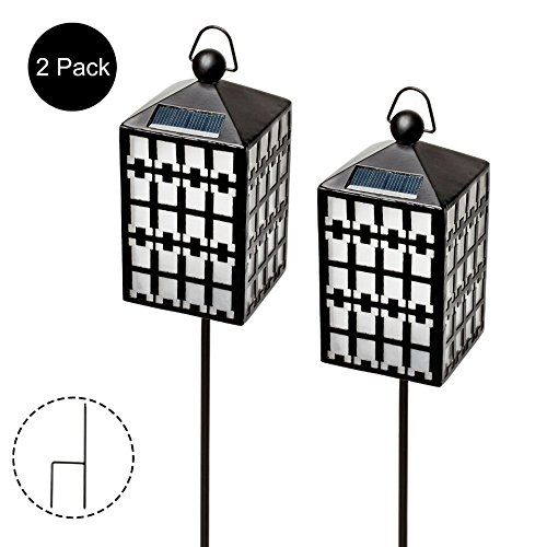 Romingo Hanging Solar Lights 2 Pack Waterproof Solar Garden Outdoor Pathway Stake Lights for Décor, Garden Yard, Lawn, Patio, Pavilion Camping