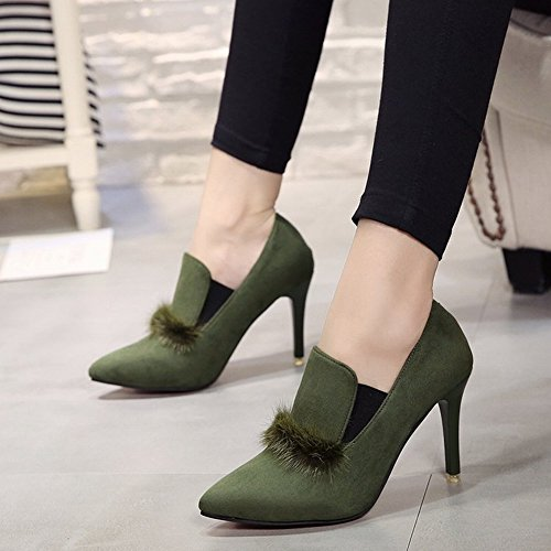 Pointed High-Heeled Boots Women's Fine with Bare Boots Martin Boots Fashion and Ankle Shoes Shoes , green , EUR36.5