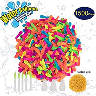 1500 Pack Water Balloons Refill Kits Quick & Easy Latex Water Bomb Balloons with Refill Hose Nozzle for Kids and Adults Water Fight Games, Summer Swimming Pool Party Family Games Supply