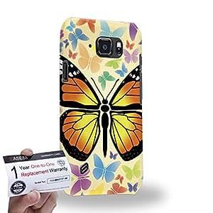 Case88 [Samsung Galaxy S6 Active] 3D impresa Carcasa/Funda dura para & Tarjeta de garantía - Art Design Multi Color Butterfly
