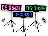 EU 8'' 6 digits RGB outdoor Double Sided LED Race Timing Clock For Running Events Countdown/up stopwatch IOS(IPhone) and Android are supported.