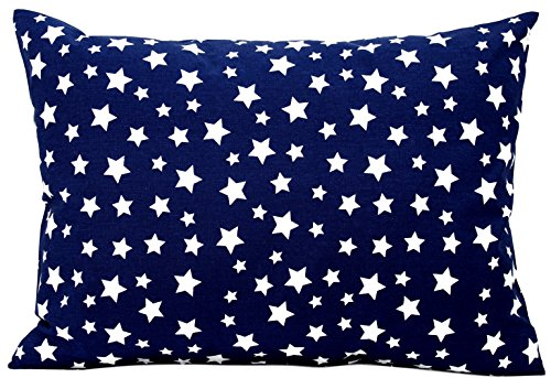 Kids Toddler Pillowcase 13x18 by Comfy Turtles, 100% Cotton, Soft Pillow Cover for Wonderful Sleep and Dreams, Design for Boys and Girls (Navy Blue - All Star Pillowcase