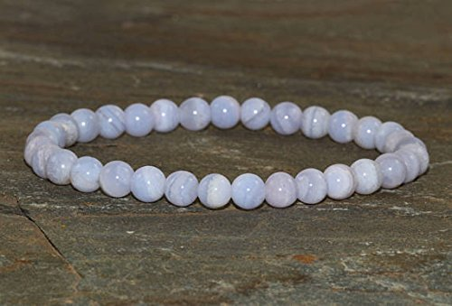 6mm blu Lace Agate Bracelet, blu Lace Agate Jewelry, Anxiety Relief, Throat Chakra, Confidence