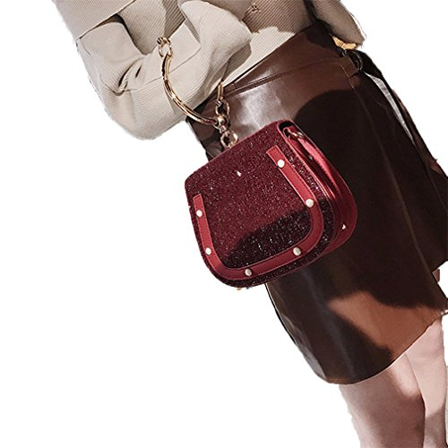 Handle Bags Sequined Crossbody red Messenger Women For Shoulder amp;Demons Bag Angels Ring wine Leather PU w7R1t