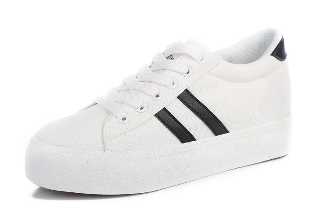 Aisun Women's Fashion Soft Platform Canvas Shoes Sneakers B0148KZVGA 6.5 B(M) US|White