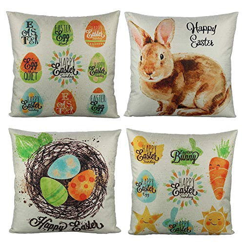 (All Smiles Spring Easter Throw Pillow Covers Cases Decorative Cushion 18x18 Rabbit Bunnies with Eggs Home Décor for Bed Sofa Couch Home Decorations)