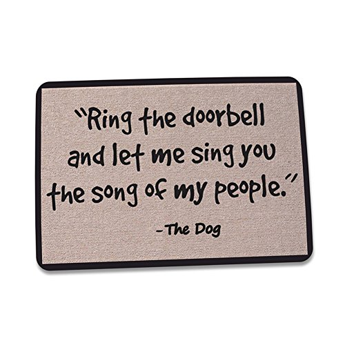 ZaH Outdoor Indoor Doormat Non Slip Door Mats Thin Home Carpets for Front Door Kitchen Bedroom Garden, 2 x 3, Ring The Doorbell and Let Me Sing You The Song of My People, The Dog