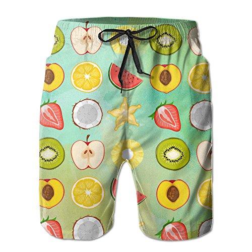 Halves Fruit (Men Free Vector Fruit Halves Icon Set Quick Dry Lightweight Fashion Board Shorts Swim Trunks XXL)