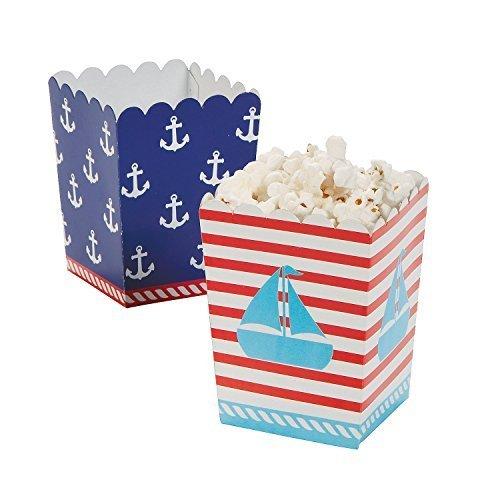 Nautical Theme Centerpieces (Nautical Sailor Mini Popcorn Boxes - 24 ct Model:)