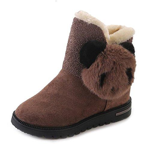 leather Toe Gray ZHZNVX Khaki Nubuck Shoes Winter Black PU Fall HSXZ Boots Comfort Suede Women's Casual for Round Black aaqgnwIxF