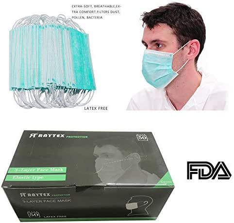 Raytex Dust Allergy Flu Masks-Nelson-Certified-50/bx 3-Ply Superior Disposable Latex Free Face Mask, Breathable and Comfortable with Premium Elastic Ear Loop for Medical Dental Surgical (Green)