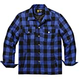 quilted plaid jacket - Coofandy Mens Cotton Coat Winter Jackets Lined Plaid Shirt Jacket,Blue,XX-Large