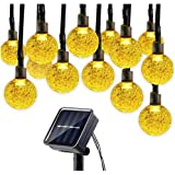 Solar Christmas String Lights Waterproof 30 LED Crystal Globe String Lights for Outdoor/Indoor Decorations-Warm White