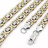 "Elfasio 9MM Men's Silver Flat Byzantine Chain Link Stainless Steel Necklace 16""-38"""