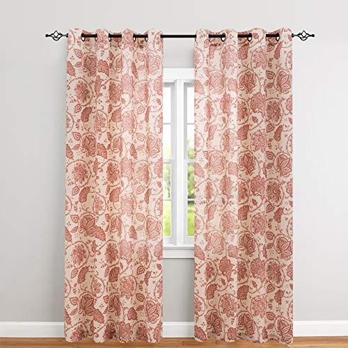 Floral Scroll Printed Linen Curtains Grommet Top - Ikat Flax Textured Medallion Design Jacobean Floral Printed Retro Living Room Curtain Panels 95 Inches Long (Poppy Red, 2 (Floral Tan Scroll)