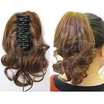 Amazon.com   Real hair pony tail shark ponytail wig piece women girls female  short hair curly hair wig pony tail tiger claw   Beauty a721519fa