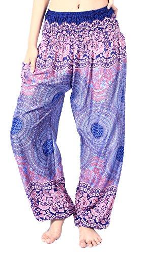 Boho Vib Women's Rayon Print Smocked Waist Boho Harem Yoga Pants (Small/Medium, Rose 1 Dark Blue) ()