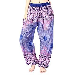 Boho Vib Women's Rayon Print Smocked Waist Boho Harem Yoga Pants (Small/Medium, Rose 1 Dark Blue)