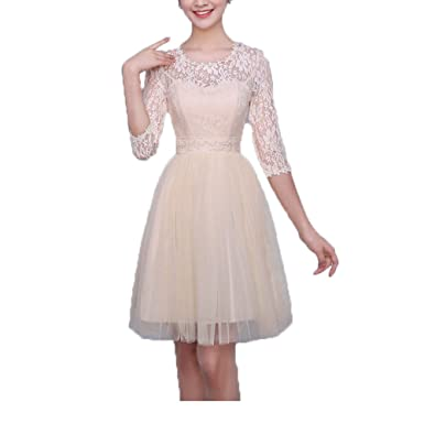 cb9756c2953 Yucou Girls Formal O Neck Short Prom Dresses Lace Party Cocktail Gowns  Champagne