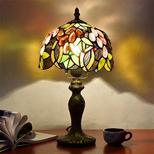 EuSolis E26 Tiffany Traditional Bedside and Table Lamps Handcrafted 8 Inch Flowers Stained Glass Luxury Bedside Lamps European Lamps for Living Room Bedroom Vintage 01 by EuSolis (Image #1)