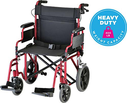 NOVA Bariatric Transport Chair with Locking Hand Brakes, Heavy Duty and Extra Wide Wheelchair with Removable & Flip Up Arms for Easy Transfer, Anti-Tippers Included, 400 lb. Weight Capacity, Red