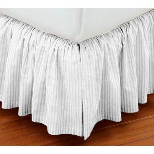 Luxury Dust Ruffle Bed Skirt Twin XL Size 36'' Drop Fall Length White Striped 950TC 100%Egyptian Cotton
